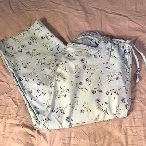 Light blue Capri flowered pants
